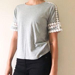 J Crew Gray White Crochet Trim Short Sleeve Blouse